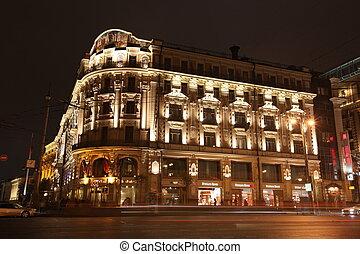 moskou, oct, 5:, nacht, aanzicht, van, hotel, nationale, en,...