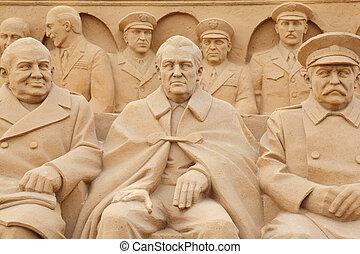 moskou, -, september, 7:, gebeeldhouwd kunstwerk, politici,...