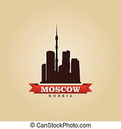 moskou, symbool, rusland, vector, stad