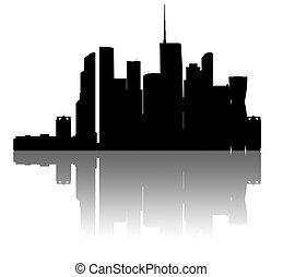 moskva-city, skyline., 상술된다, silhouette.