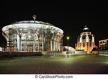 moskva, hus, i, musik, og, branche centrer, hos, den, nat
