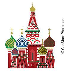 moskva, znak, -, svatý, basil's, cathe