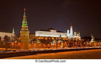 moskwa, prospekt, rosja, kreml, noc