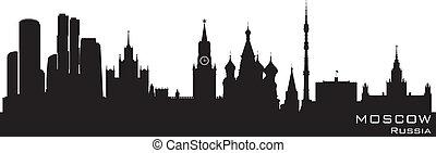 moskwa, rosja, skyline., szczegółowy, wektor, sylwetka