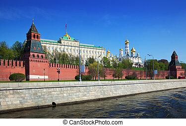 moskwa rzeka, kreml, moskva