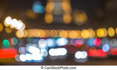 moskwa, timelapse, światła, handel, poplamiony, noc, aleja