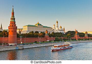 moskwa, zachód słońca, kreml