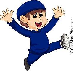 Moslem boy cartoon vector illustration - Moslem boy in blue ...