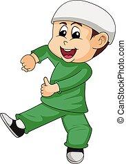 Moslem boy cartoon vector illustration - Moslem boy in green...