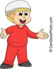 Moslem boy cartoon vector illustration - Moslem boy in red ...