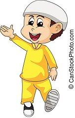 Moslem boy cartoon vector illustration - Moslem boy in ...