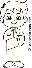 Moslem Boy Hajj Greeting BW - Moslem Boy Hajj Greeting...