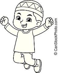 Moslem Boy Jumping BW