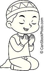Moslem Boy Praying after salat BW