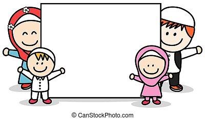 Moslem family holding banner