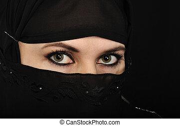 moslem, frau, augenpaar