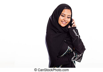 moslem, frau reden beweglich, telefon