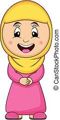Moslem girl cartoon vector illustration