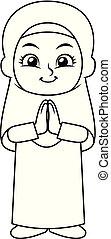 Moslem Girl Hajj Greeting BW - Moslem Girl Hajj Greeting...