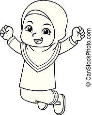 Moslem Girl Jumping BW