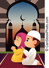 moslem, kinder, beten, in, moschee