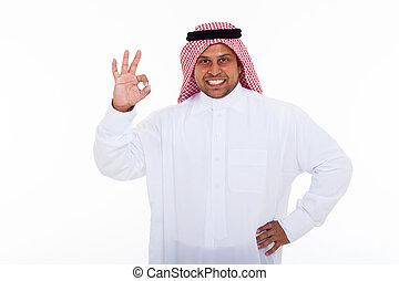 moslem, mann, geben, okay, reichen zeichen
