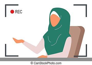 moslem, news., schöne , reporter, weibliche , sprechen, fernsehapparat