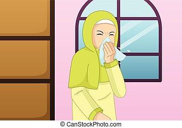 moslem, niesen, frau, gewebe, abbildung