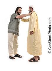 moslem, person, hände, geschäftsmann, arabisches ,...