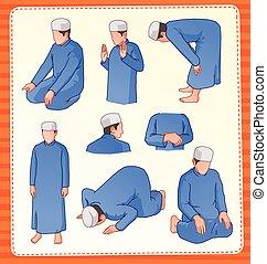 moslem praying position - set illustration of muslim praying...
