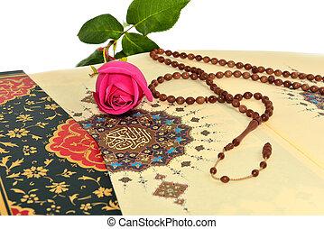 moslim, bidsnoer kralen, op, de, heilig, quran