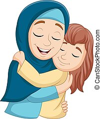 moslim, dochter, het koesteren, haar, moeder