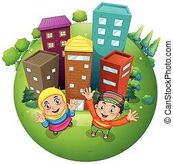 moslim, jongen en meisje, op, de, gebouwen