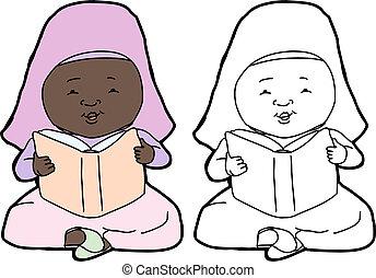 moslim, lezende , kind