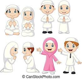 moslim, set, spotprent, verzameling, geitje