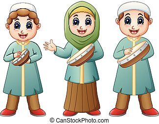 moslim, spotprent, tambourine, vrolijke , spelend, geitje