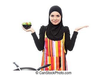 moslim, vrouw glimlachen, vrolijke , het voorstellen, met, open hand, palm