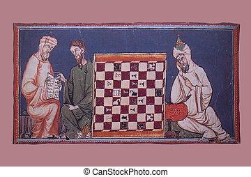 moslims, chrétien, joueurs, chass, miniature, jeu, dépeindre