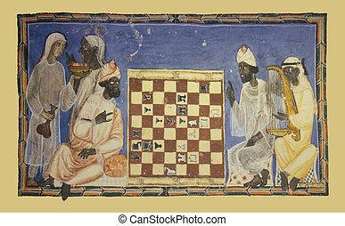 moslims, joueurs, miniature, jeu, échecs, dépeindre
