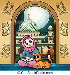 moslims moskee, kat, boek, girl lezen