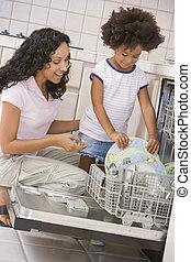 mosogatógép, berakodás, lány, anya