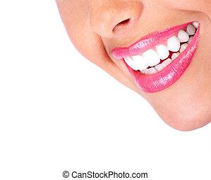 mosoly, és, egészséges, teeth.