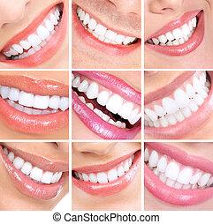 mosoly, és, teeth.
