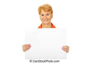 mosoly, öregedő, doktornő, vagy, ápoló, birtok, tiszta, transzparens