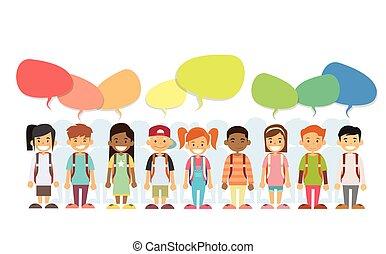 mosoly, csevegés, színes, boldog, gyerekek, csoport, doboz