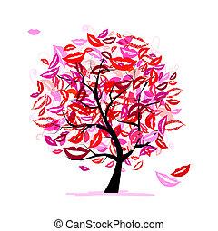 mosoly, fa, megcsókol, ajkak, tervezés, -e