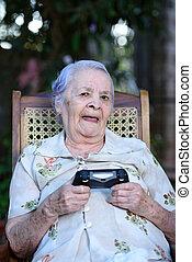 mosoly, játék, játékok, nagyanyó