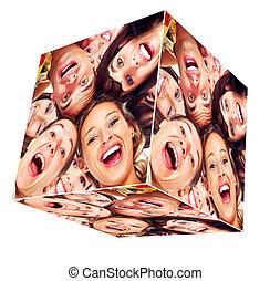mosoly, köb, collage., emberek