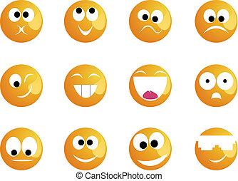 mosoly, különböző, kedélyállapot, arcszín, sárga, jókedvű
