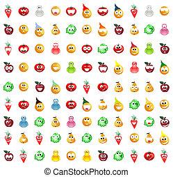mosoly, különböző, kinds., ábra, vektor, gyűjtés